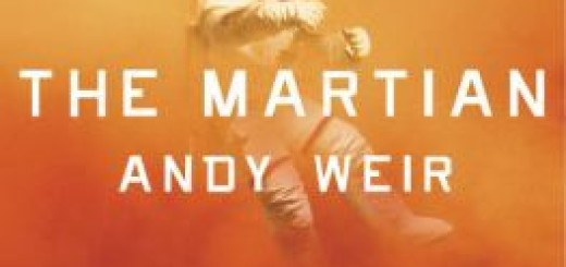 An astronaut in a spacesuit, caught in a sandstorm - book cover for The Martian